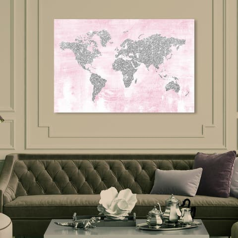 Oliver Gal 'Pink and Silver Glitter Map' Maps and Flags Wall Art Canvas Print - Pink, Gray