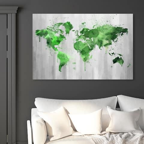 Oliver Gal 'Mapamundi Green' Maps and Flags Wall Art Canvas Print - Green, Gray