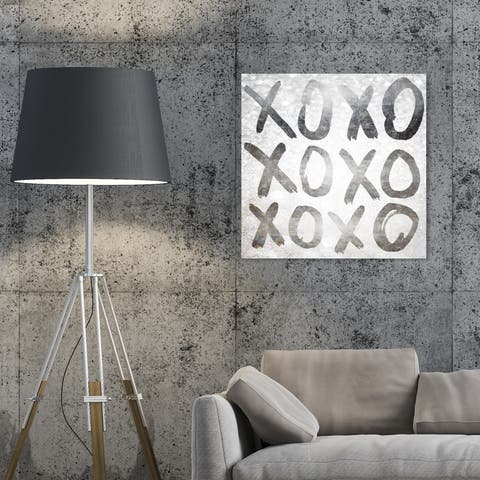 Oliver Gal 'XOXO Silver' Typography and Quotes Wall Art Canvas Print - Gray, White