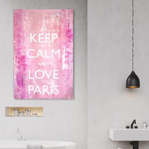 Oliver Gal 'Keep Calm Love Paris' Typography and Quotes Wall Art Canvas Print - Pink, White
