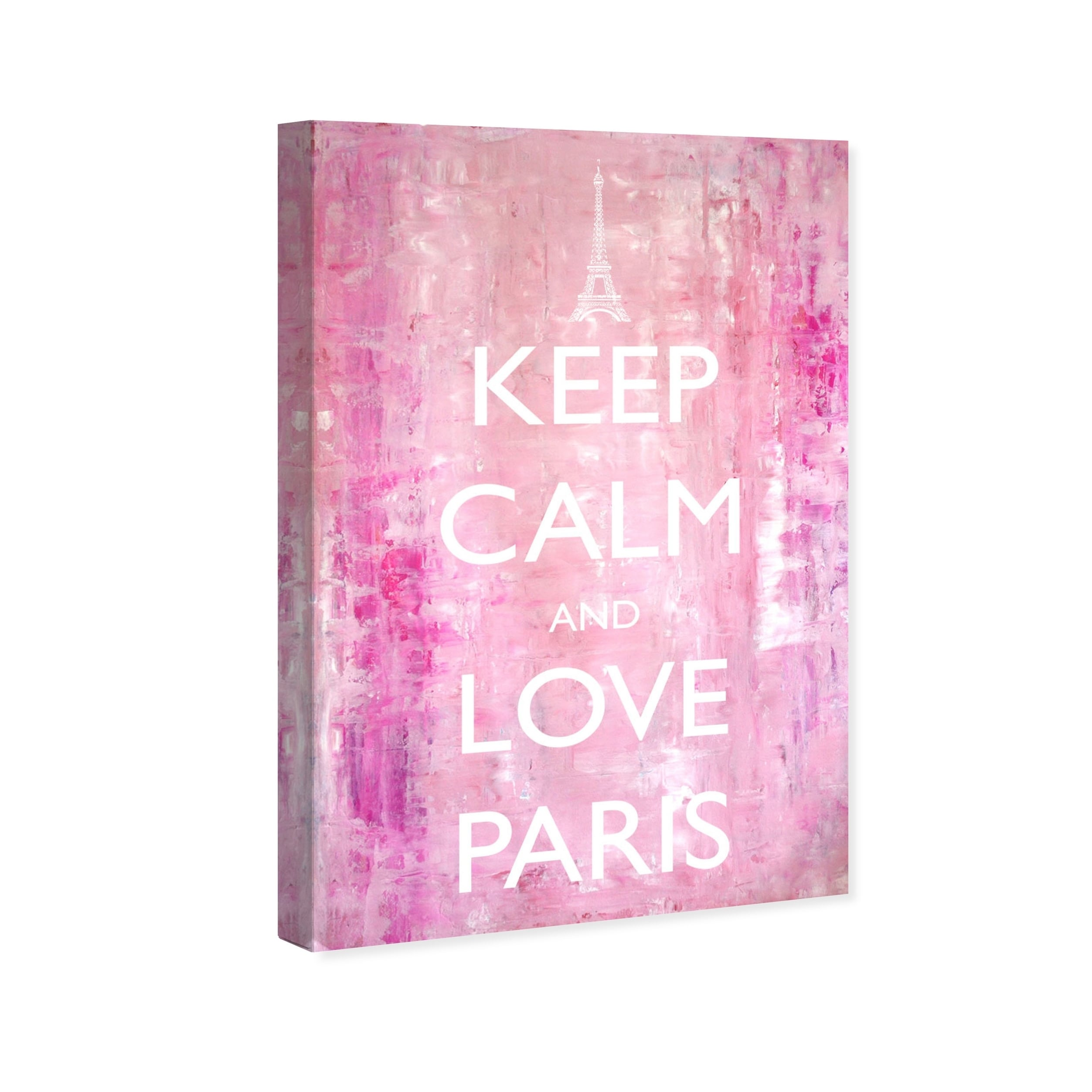 Oliver Gal \'Keep Calm Love Paris\' Typography and Quotes Wall Art Canvas  Print - Pink, White