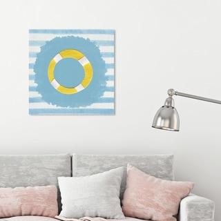 Oliver Gal 'LifeSaver' Nautical and Coastal Wall Art Canvas Print - Blue, Yellow