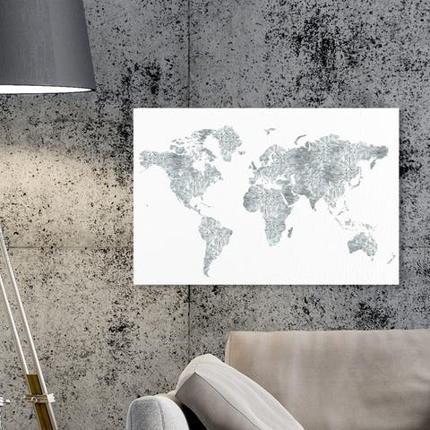 Oliver Gal 'Mapamundi Glass Spikes' Maps and Flags Wall Art Canvas Print - Gray, White