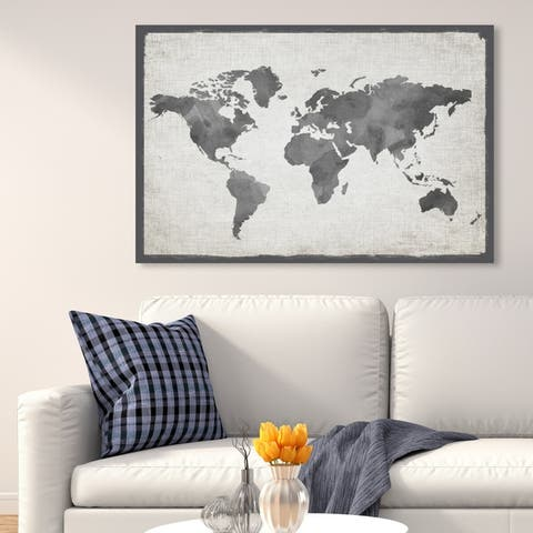 Oliver Gal 'Mapamundi Grey' Maps and Flags Wall Art Canvas Print - Gray, White