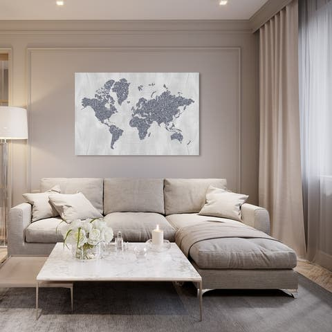 Oliver Gal 'World in Silver' Maps and Flags Wall Art Canvas Print - Gray