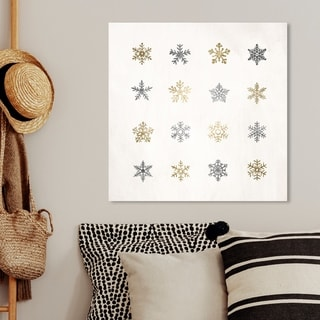 Oliver Gal 'Snowflakes Silver and Gold' Holiday and Seasonal Wall Art Canvas Print - Gold, Gray