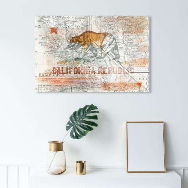 """Republic of California Vintage Flag Gallery Wrapped Canvas 16/""""x20/"""""""