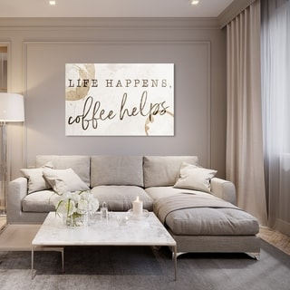 Oliver Gal 'Life Happens Coffee Helps' Typography and Quotes Wall Art Canvas Print - Brown, White