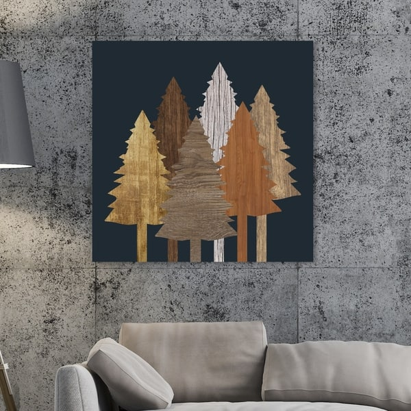 Oliver Gal Wooden Trees Floral And Botanical Wall Art Canvas Print Brown Black Overstock 28845346