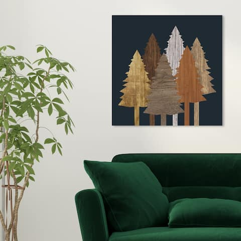 Oliver Gal 'Wooden Trees' Floral and Botanical Wall Art Canvas Print - Brown, Black
