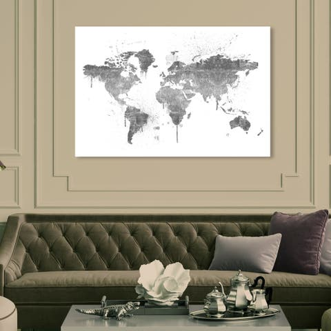 Oliver Gal 'Mapamundi Silver New' Maps and Flags Wall Art Canvas Print - Gray, White