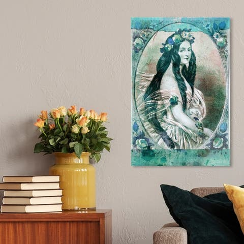 Oliver Gal 'Lady Flora' People and Portraits Wall Art Canvas Print - Blue, Green