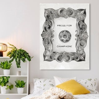 Oliver Gal 'Press For Champagne Silver' Typography and Quotes Wall Art Canvas Print - Black, White