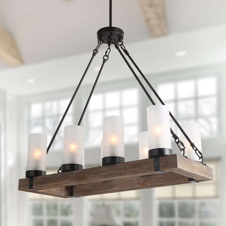 The Gray Barn Tomgallon 8-light Pendant-lights Wood Chandeliers Kitchen  Island Chandelier