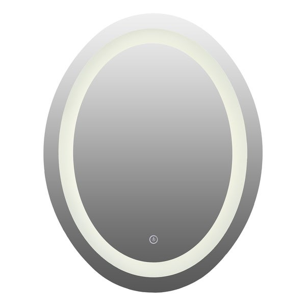 CO-Z Oval Dimmable Wall Mounted LED Bathroom Mirror with Touch Dimmer