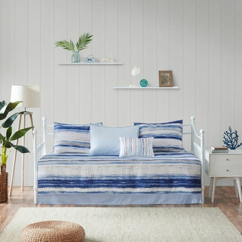 Madison Park Anchorage Blue 6 Piece Reversible Daybed Cover Set