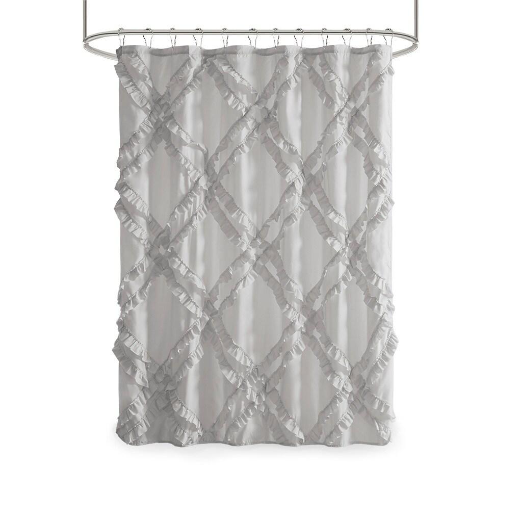 Intelligent Design Karlie Tufted Diamond Ruffle Shower Curtain On Sale Overstock 28845815