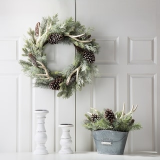 "Glitzhome Christmas 24""D Flocked Pinecone Wreath"