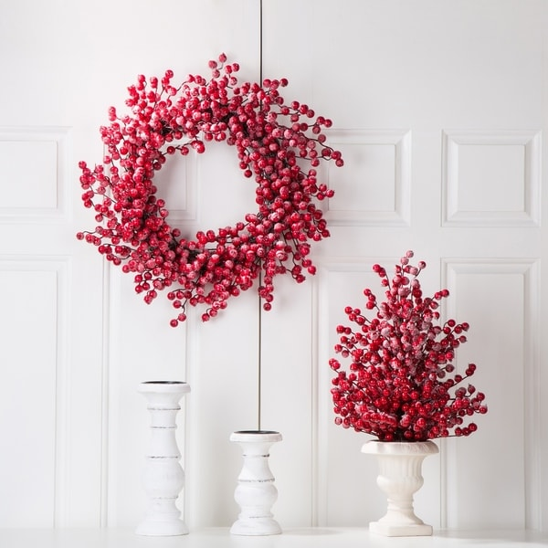 "Glitzhome Christmas 22""D Red Berry Wreath"