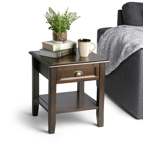 WYNDENHALL Portland SOLID WOOD 18 inch Wide Square Traditional End Side Table in Mahogany Brown - Mahogany Brown