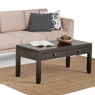 Link to WYNDENHALL Essex SOLID WOOD 42 inch Wide Rectangle Contemporary Coffee Table in Mahogany Brown - Mahogany Brown - Mahogany Brown Similar Items in Living Room Furniture