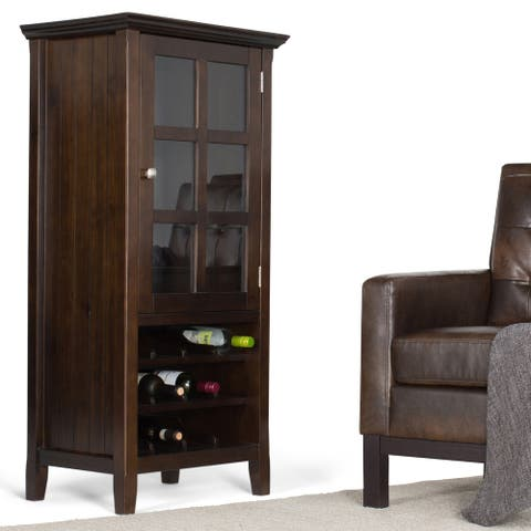 WYNDENHALL Normandy 12-Bottle SOLID WOOD 24 inch Wide Rustic High Storage Wine Rack Cabinet in Brunette Brown