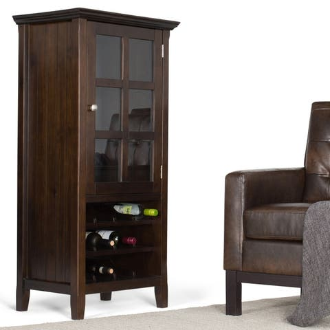 WYNDENHALL Normandy 12-Bottle SOLID WOOD 24 inch Wide Transitional High Storage Wine Rack Cabinet in Brunette Brown