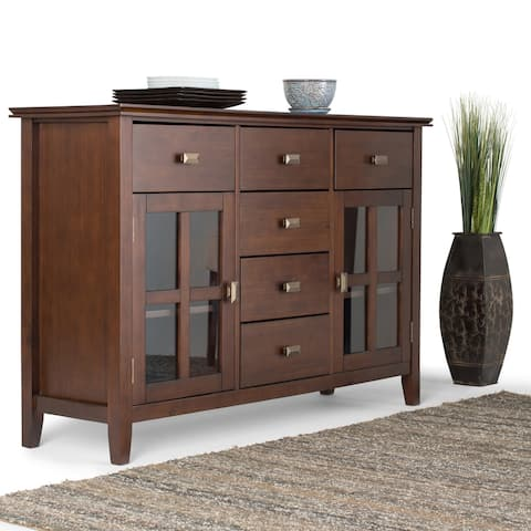 WYNDENHALL Stratford SOLID WOOD 54 inch Wide Contemporary Sideboard Buffet Credenza in Russet Brown - 54 W x 17 D x 36 H