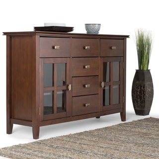 Link to WYNDENHALL Stratford Solid Wood Russet Brown Sideboard Buffet Credenza - 54 W x 17 D x 36 H Similar Items in Dining Room & Bar Furniture