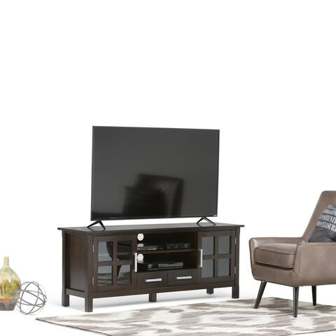 WYNDENHALL Waterloo SOLID WOOD 60 inch Wide Contemporary TV Media Stand in Hickory Brown For TVs up to 65 inches