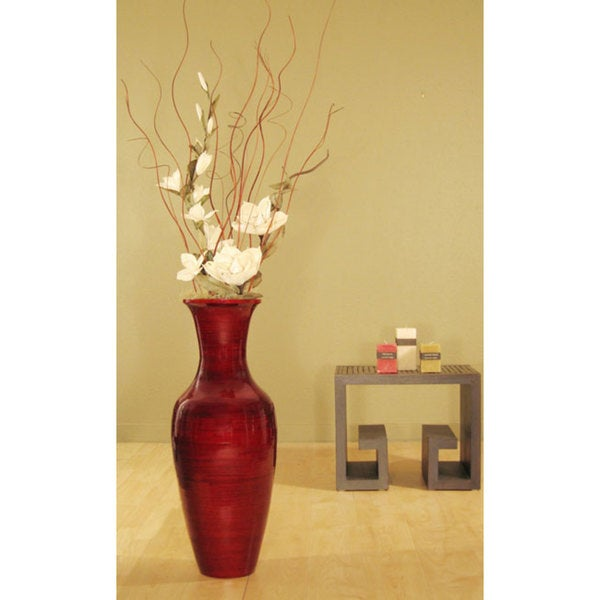 Shop Bamboo Floor Vase And White Magnolias Free Shipping Today