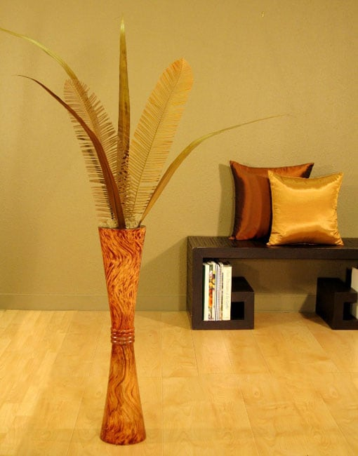 Tall Mango Wood Fluted Vase and Palms