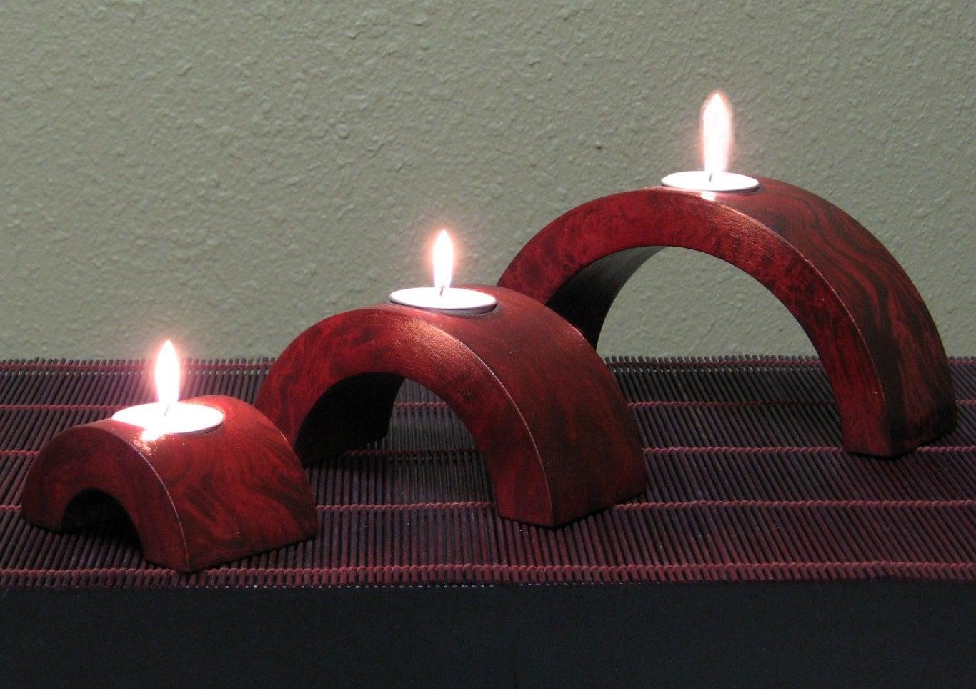 Arched Mango Wood Candle Holders (Set of 6) - Thumbnail 1
