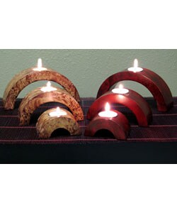 Arched Mango Wood Candle Holders (Set of 6) - Thumbnail 0