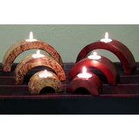 Arched Mango Wood Candle Holders (Set of 6)