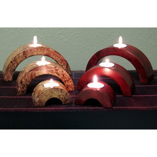Arched Mango Wood Candle Holders (Set of 6) (2 options available)