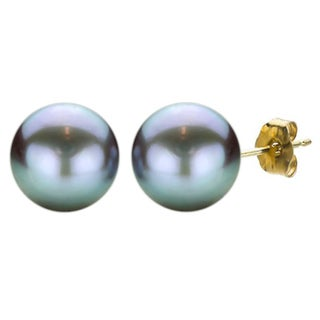 DaVonna 14k Yellow Gold Grey FW Pearl Stud Earrings (9-10 mm)(Case of 10)