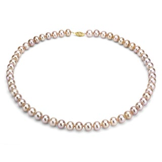 DaVonna 14k Gold Pink FW Pearl 18-inch Necklace (10-11 mm) (Set of 3)