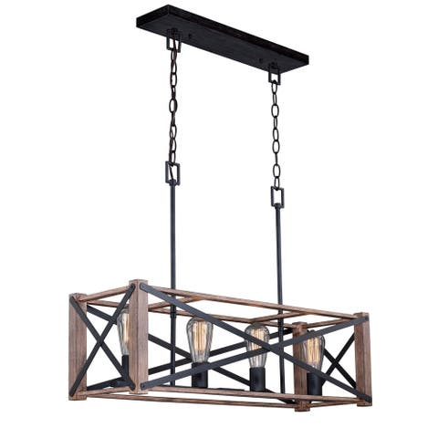 Colton 4L Brown Wood Cage Linear Chandelier Island Pendant Light Fixture - 30.5-in W x 22-in H x 9.75-in D