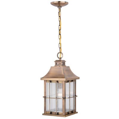 Quincy 1 Light Antique Brass Outdoor Lantern Pendant Clear Glass - 8-in W x 17-in H x 8-in D
