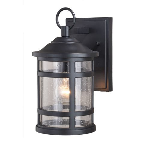 Southport Black Rust Proof 6.5-in W Outdoor Wall Light with Clear Glass - 6.5-in W x 11.75-in H x 8-in D