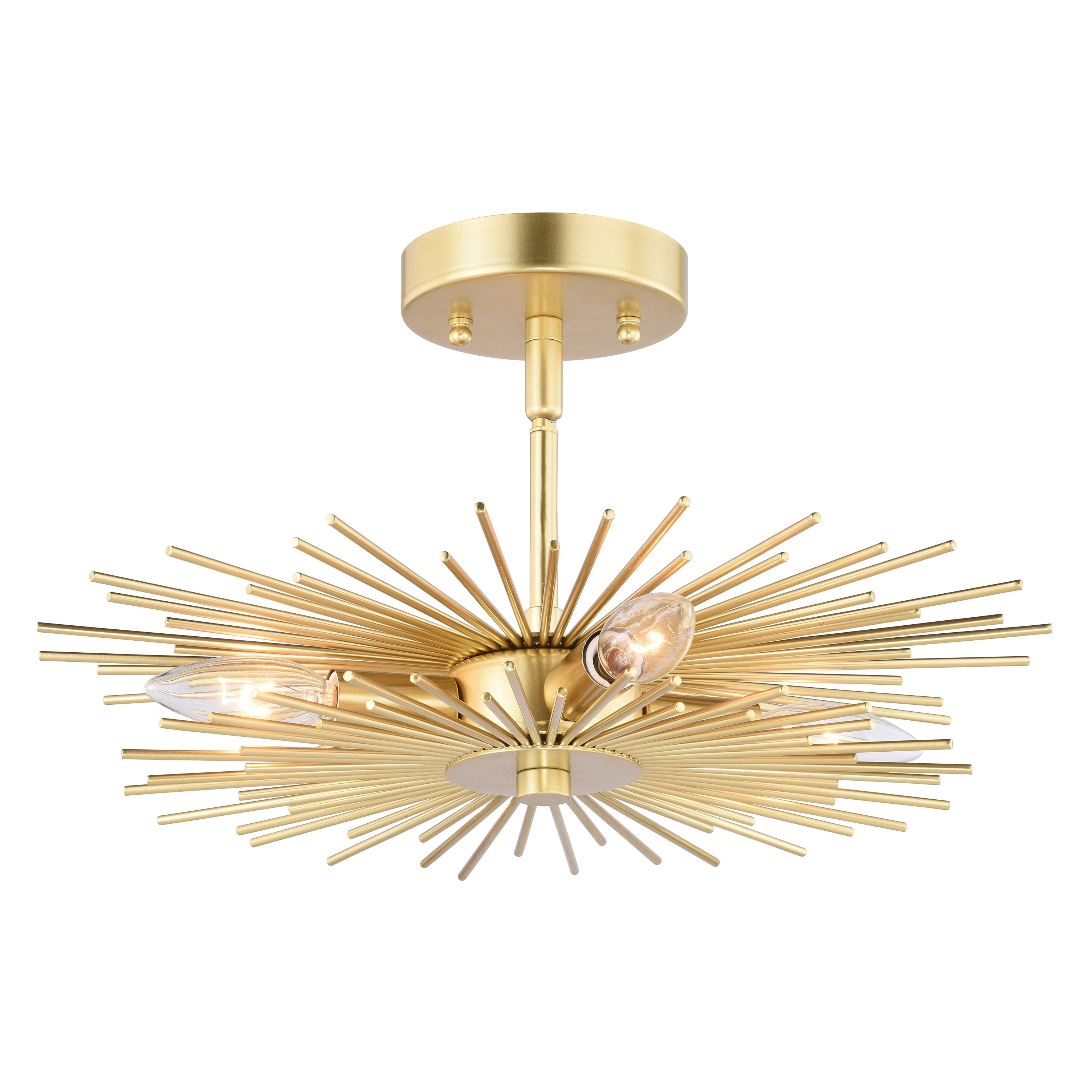 Image of: Shop Black Friday Deals On Nikko 16 In W Gold Mid Century Modern Semi Flush Mount Ceiling Light 16 In W X 9 5 In H X 16 In D Overstock 28855335