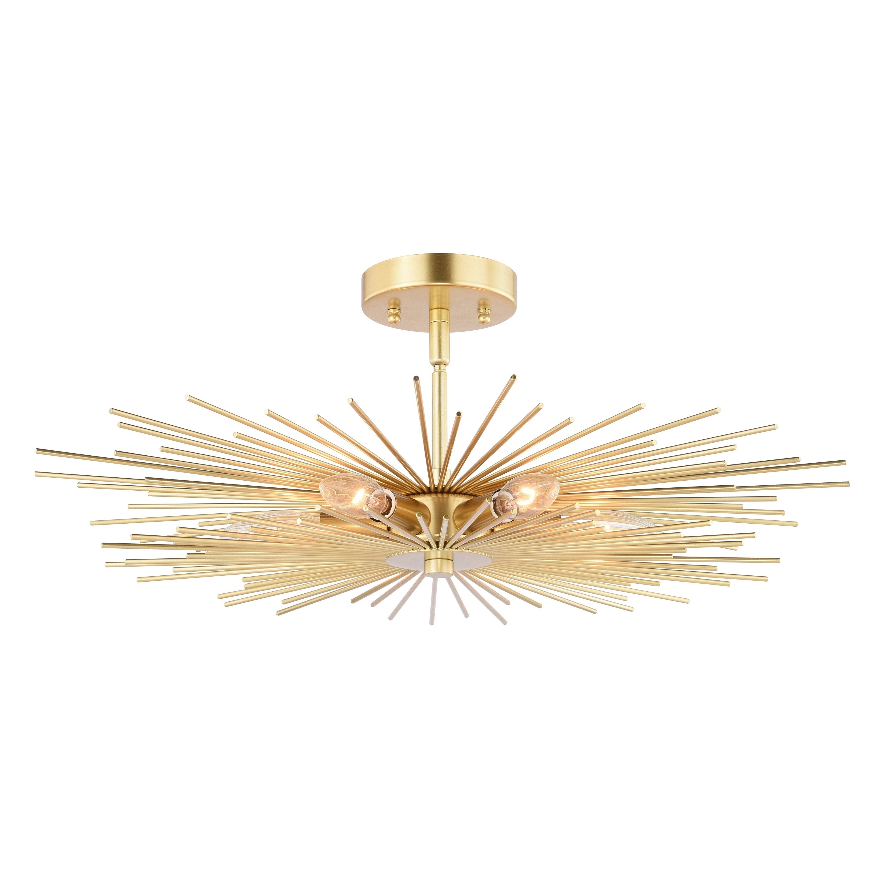 Image of: Shop Black Friday Deals On Nikko 24 In W Gold Mid Century Modern Semi Flush Mount Ceiling Light 24 In W X 9 5 In H X 24 In D Overstock 28855348