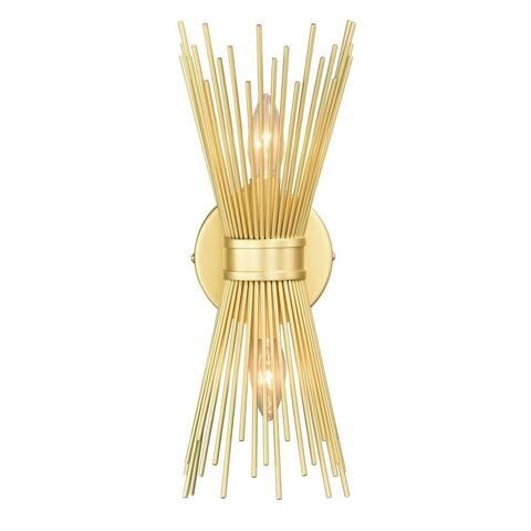Nikko 2 Light Gold Mid-Century Modern Flush Wall Sconce - 6.5-in W x 15.5-in H x 4.75-in D - 6.5-in W x 15.5-in H x 4.75-in D