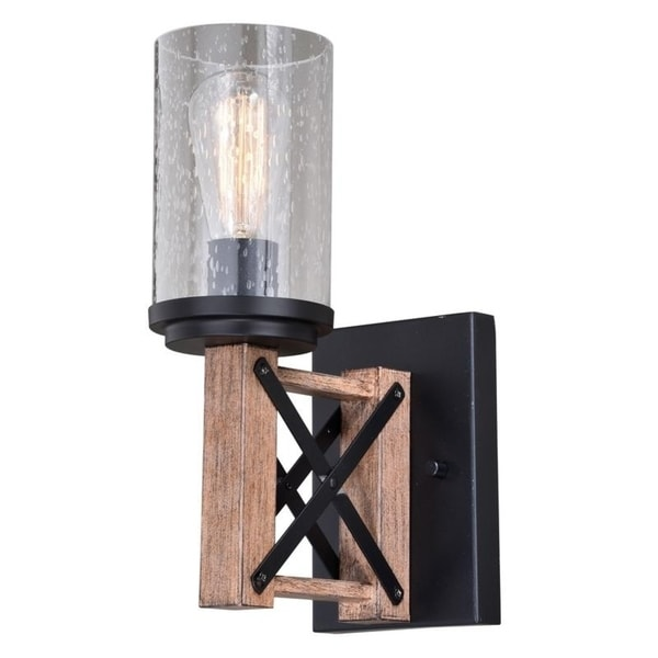 Colton Bronze Wood Cage Bathroom Wall Light - 4.75-in W x 12.5-in H x 8.25-in D. Opens flyout.