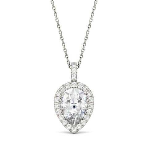Moissanite by Charles & Colvard 14k White Gold Pear Halo Necklace 2.45 TGW
