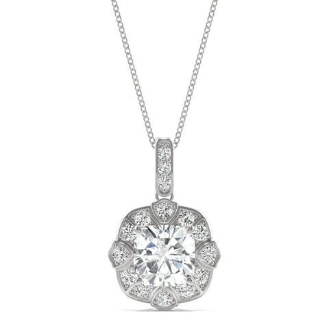 Moissanite by Charles & Colvard 14k White Gold Cushion Necklace 1.55 TGW