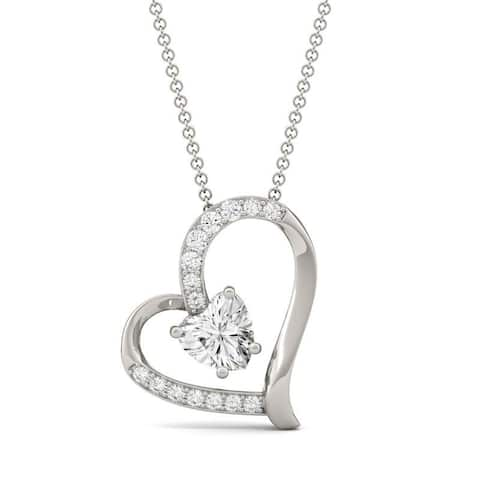 Moissanite by Charles & Colvard 14k Gold Heart Necklace 1.05 TGW