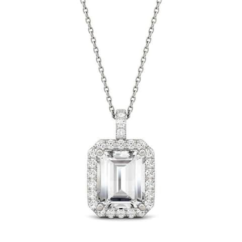 Moissanite by Charles & Colvard 14k White Gold Emerald Halo Necklace 3.94 TGW