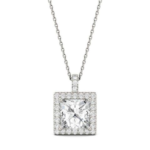 Moissanite by Charles & Colvard 14k White Gold Square Halo Necklace 3.52 TGW